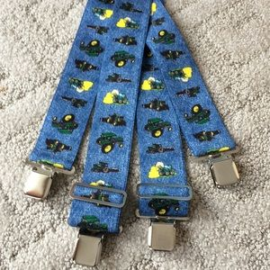 Blue adjustable suspenders with tractors 48 inches